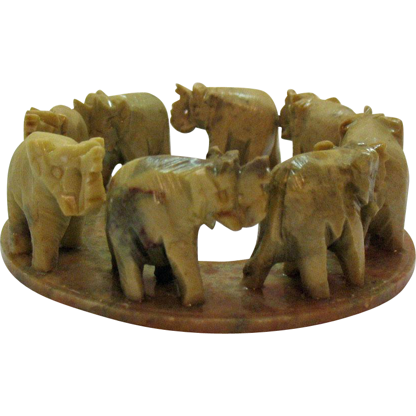 Vintage Circle Of Elephants In Onyx Hand Carved Amp Made In