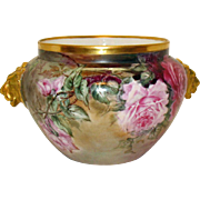 Fantastic Antique French Limoges Hand Painted Signed Jardiniere with Roses  Lion Head Handles 1902 Good Condition