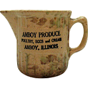 Vintage Amboy Illinois Spongeware Milk/Creamer Pitcher 1930-50s Good Condition