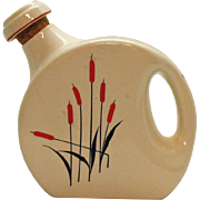 Vintage Monmouth Pottery Water Jug Cattails Motif 1930-50s Good Condition