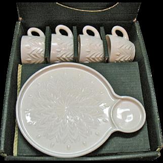 Vintage Jeannette Shell Pink Milk Glass 4 Hostess Sets 1957-1959 Original Box Good Condition