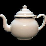 Vintage White Enamelware Teapot 1940-50s Good Vintage Condition