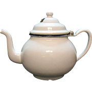 Vintage White Enamelware Teapot 1940-50s Good Vintage Condition