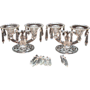 Vintage Indiana Glass 2 Light Crystal Candleholders with Bobeches Prisms 1939-45 Very Good Condition