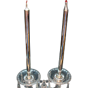 Vintage Mercury Glass Candles 2 Pair 1930-50s Good Vintage Condition