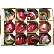 Vintage 12 Shiny Brite Christmas Tree Glass Ornaments 1940-50s Good Vintage Condition