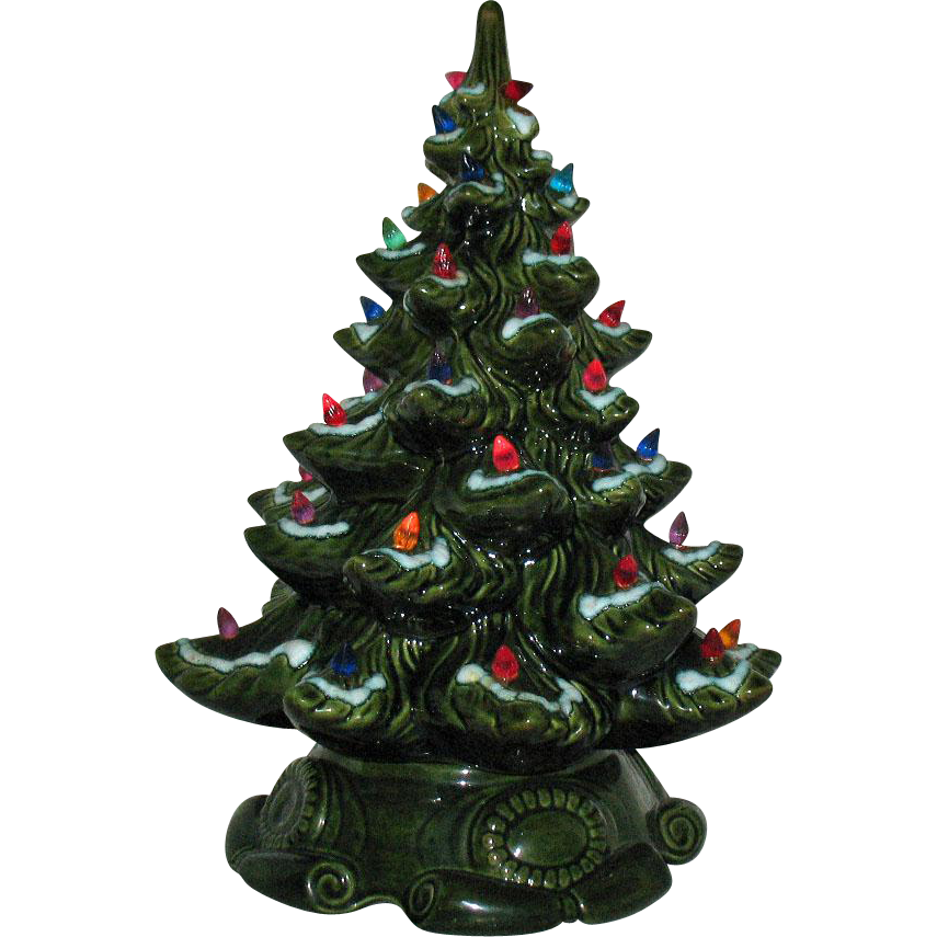 Vintage Ceramic Christmas tree Faux Lights Lit Base 1970s Very Good Vintage Condition