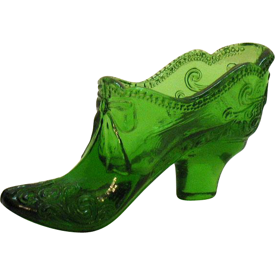 Fenton Green Glass Shoe 1970s Good Vintage Condition