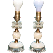 Vintage Pair of Bedroom Table Lamps White Onyx with Beaded Edge Crystal Glass 1930-40s Good Vintage Condition
