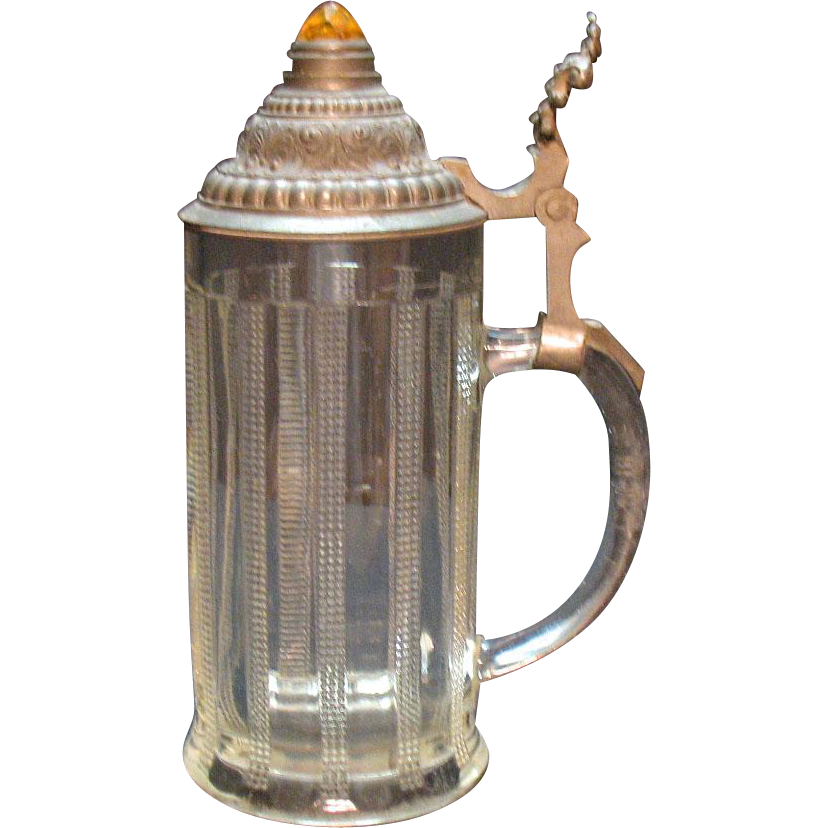 Vintage Bavarian Glass Beer Stein 1970s Zipper Design Pewter Lid Good Condition