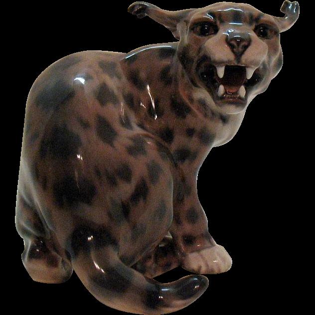 Vintage Dahl Jensen Figurine #1081 the Hissing Lynx Excellent Condition