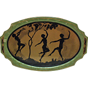 Vintage Art Deco Vanity Tray with Silhouette Fairies Dancing in the Moonlight 1920s Very Good Vintage Condition