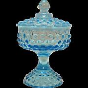 Vintage Fenton Large Hobnail Candy Dish Opalescent Blue 1940-54 still in Good Vintage Condition
