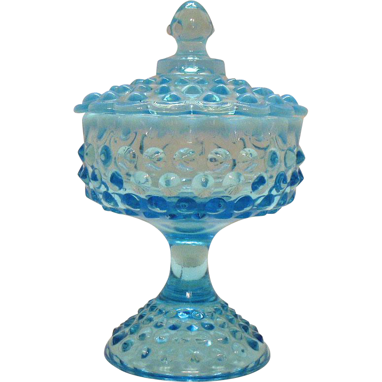 Vintage Fenton Large Hobnail Candy Dish Opalescent Blue 1940-54 still in Good Vintage Condition