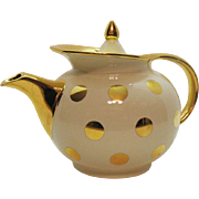 Vintage Hall Polka Dotted Windshield 6 Cup Teapot 1940-50s Ivory Gold Label Good Vintage condition