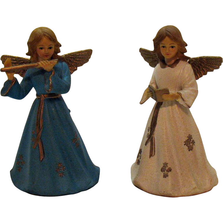 Vintage 2 Angel Christmas tree Toppers 1950s Unused Very Good Vintage Condition