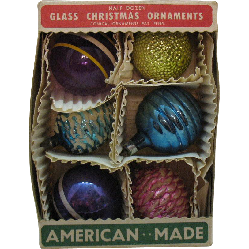 Vintage 6 Christmas tree Glass Ornaments 1940-50s