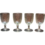Vintage Jeannette Depression glass Iris Pattern 3 Water Goblets 1928-32 Good Vintage Condition