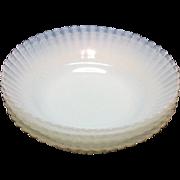 Vintage Macbeth Evans 4 Depression glass Fruit/Berry Bowls Petalware Monax Pattern 1930-50s like New Condition