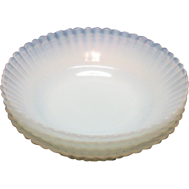Vintage Macbeth Evans 4 Depression glass Fruit/Berry Bowls Petalware Monax Pattern 1930-50s like New Condition
