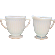 Vintage Macbeth Evans Depression glass Sugar & Cre4amer set Petalware Monax Pattern 1930-50s Good Vintage Condition