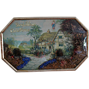Vintage 1930s Diorama Picture God Bless Our Home Convex Glass Good Condition