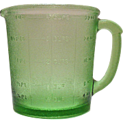 Vintage Hazel Atlas Green 4 Cup Measuring Pitcher 1930-40s Stippling Very Good Condition