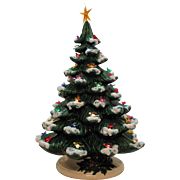 Vintage Ceramic Christmas tree Lighted Base Faux Bird Lights 1970s Good Condition