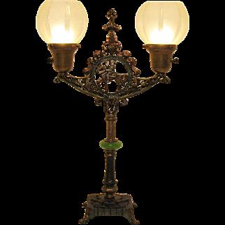 Vintage Art Deco Metal Table Light Onyx Separator Good Vintage Condition
