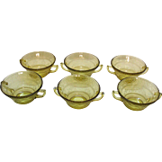 Six Vintage Depression glass Amber Cream Soup Bowls by Federal Glass Co. in Patrician Pattern 1933-37 Good Condition