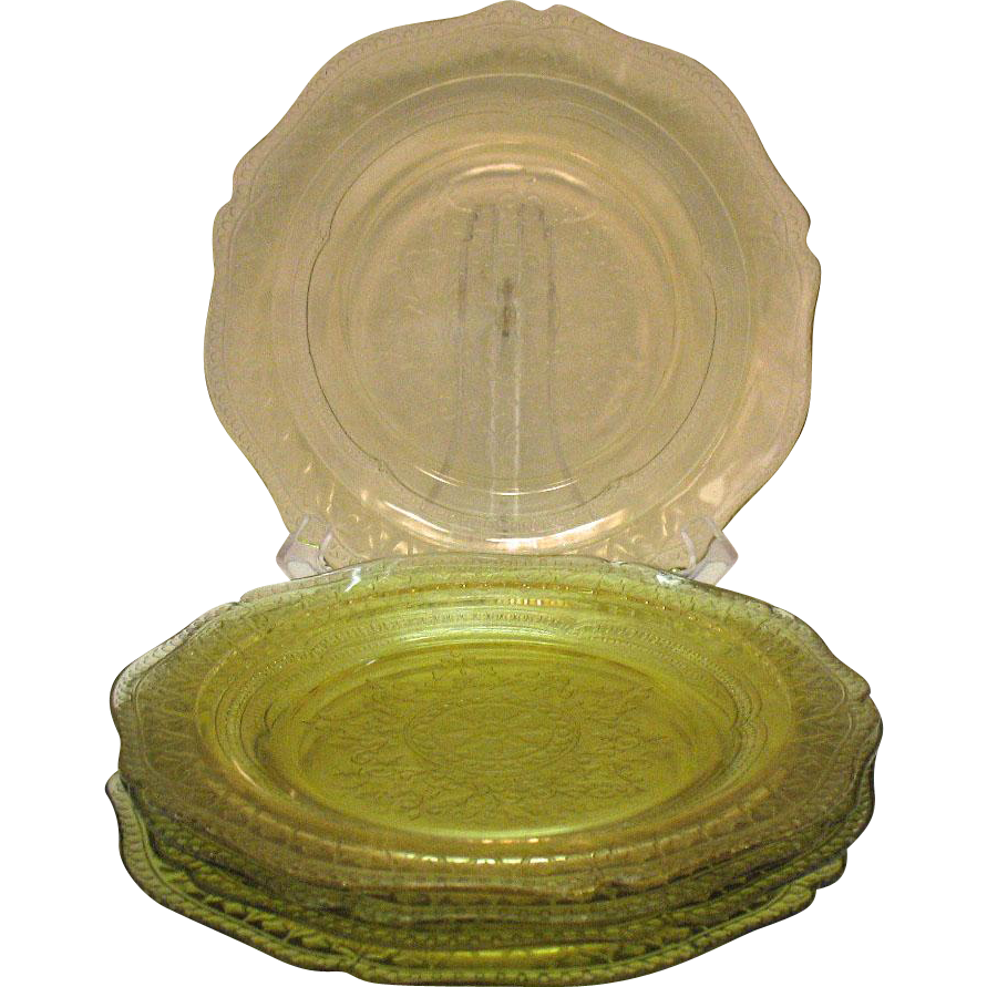 Five Vintage Depression glass Amber 9 ¼ inch Luncheon Plates by Federal Glass Co. in Patrician Pattern 1933-37 Good Condition