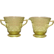 Vintage Sugar & Creamer Set Amber Depression glass by Federal Glass Co. Patrician Pattern 1933-37 Good Condition