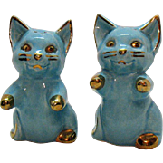 Vintage Ceramic Blue Cat S&Ps Shakers 1950s Gold Paint