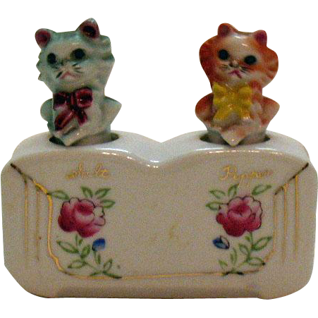 Vintage Ceramic Cat S&P Nodder Shakers 1950s Good Condition