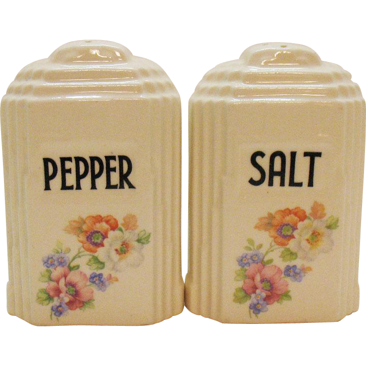 Vintage Ceramic S&P Shakers by Hall Canister Style 1940s Good Condition