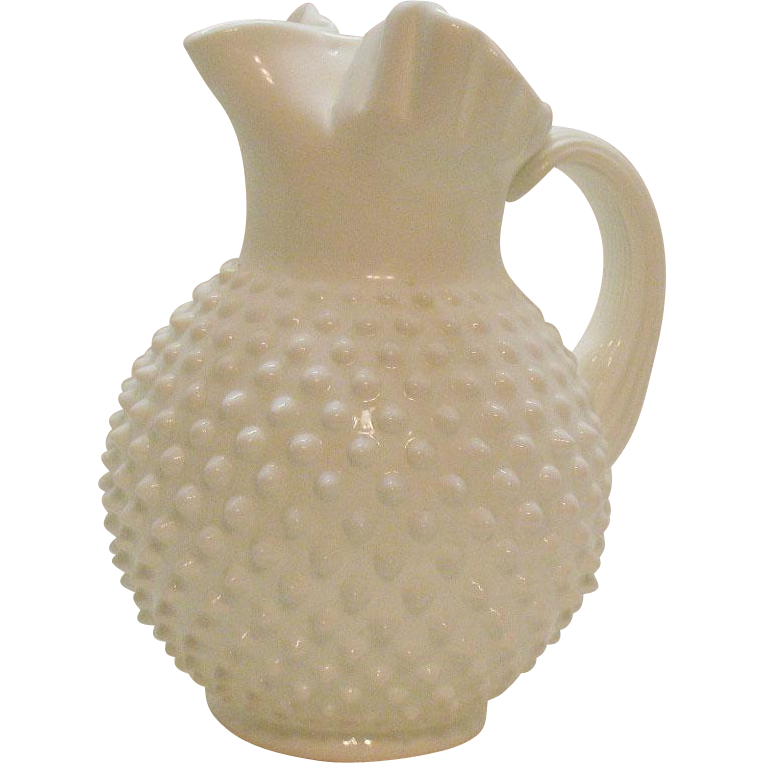 Vintage Fenton Hobnail Milk Glass 70 Ounce Jug Ice Lip Very Good Condition