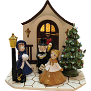 Vintage Ceramic Christmas Display Scene of Carolers Lite Up Window 1960s Very Good Condition