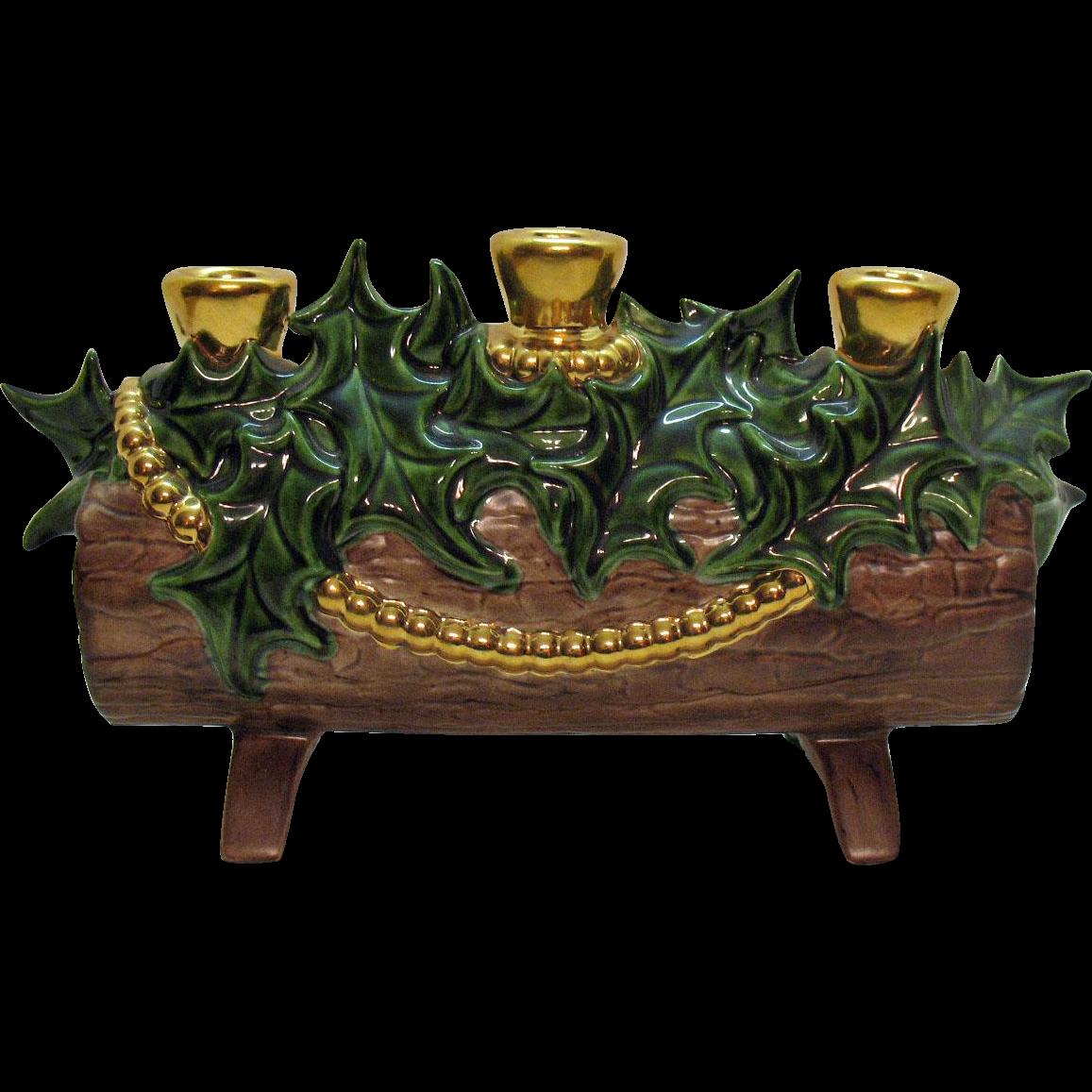 Vintage Ceramic Candle Holder Log Atlantic Mold 1970s Good Vintage Condition