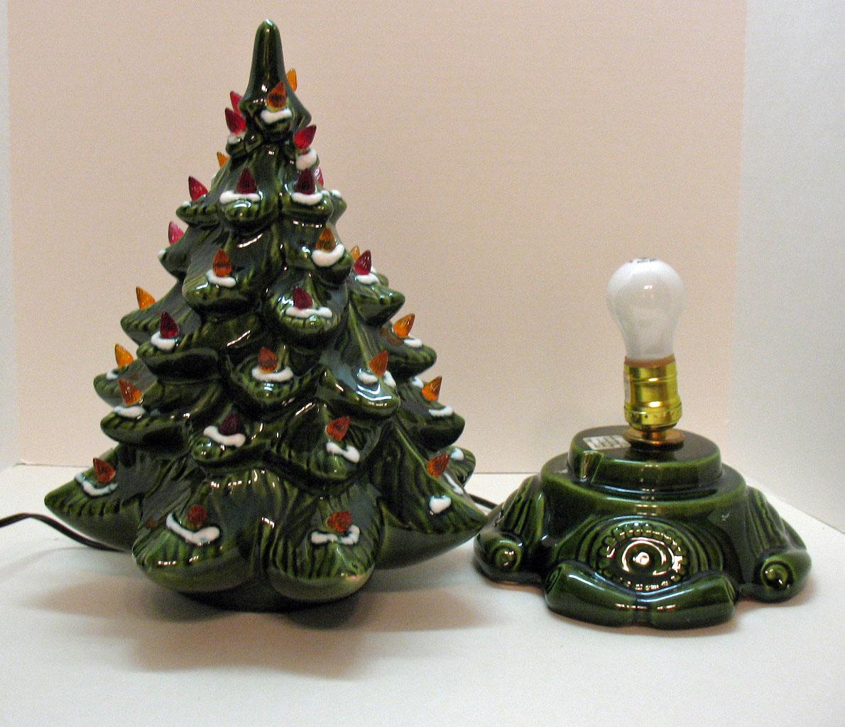 Small Vintage Ceramic Christmas Tree Light up Base Faux Plastic ...