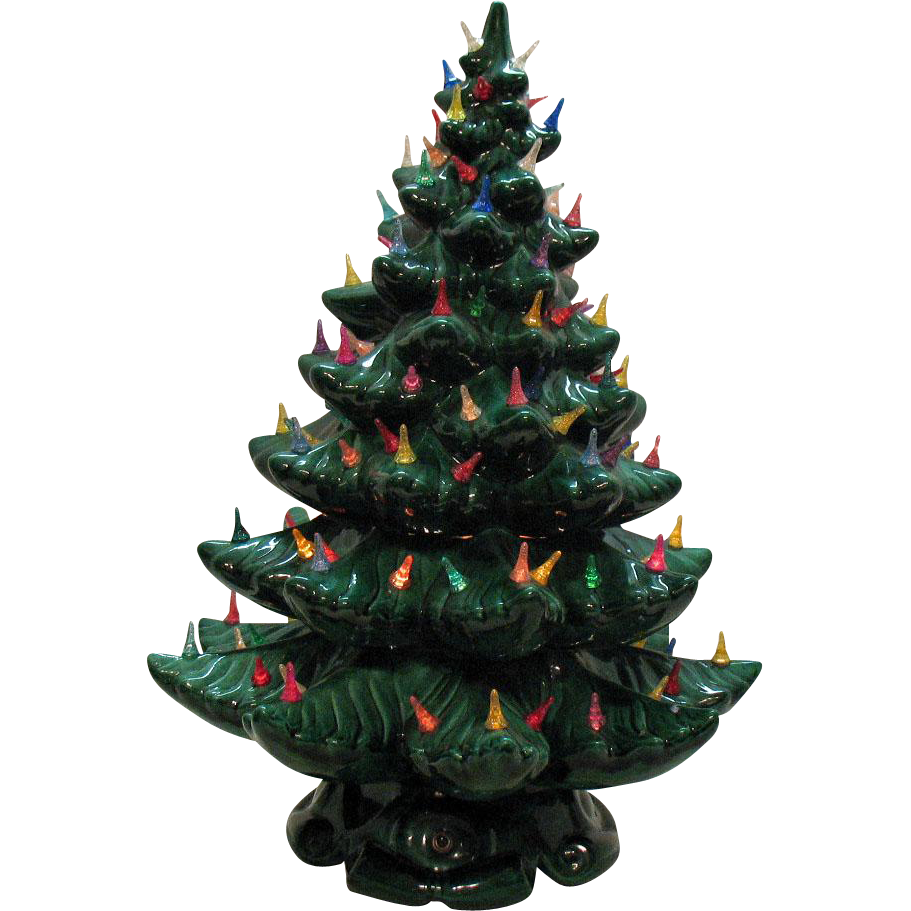 Very Large Vintage Ceramic Christmas tree Light up Base Faux ...