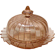 Vintage Pink Depression glass Round Butter Dish with Lid Sierra/Pin Wheel Pattern by Jeannette 1931-33