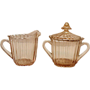 Vintage Jeannette Pink Depression glass Sugar & Creamer Set Sierra/Pin Wheel Pattern 1931-33
