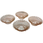Vintage Jeannette 4 Pink Depression glass Cereal Bowls Sierra/Pin Wheel Pattern 1931-33