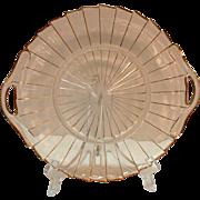 Two Handled Vintage Pink Depression glass Sandwich Tray by Jeannette in Sierra/Pin Wheel Pattern 1931-33