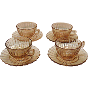 Four Cup & Saucer Sets Pink Depression glass Sierra/Pin Wheel Pattern Jeannette 1931-33
