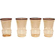 Vintage Paden City 4 Pink Juice Glasses Diana Etching 1920-30s Good Condition