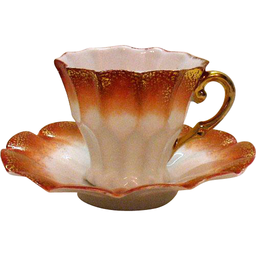 Vintage Demitasse Cup & Saucer Germany 1920-30s 12 Fluted Sides Good Condition