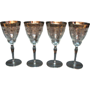 Vintage Paden City 4 Water Goblets Platinum Band Diana Etching 1930s Good Condition