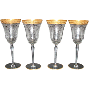 Four Vintage Paden City Water Goblets Gold Encrusted Band on Rim Diana Etching 1930s Good Condition