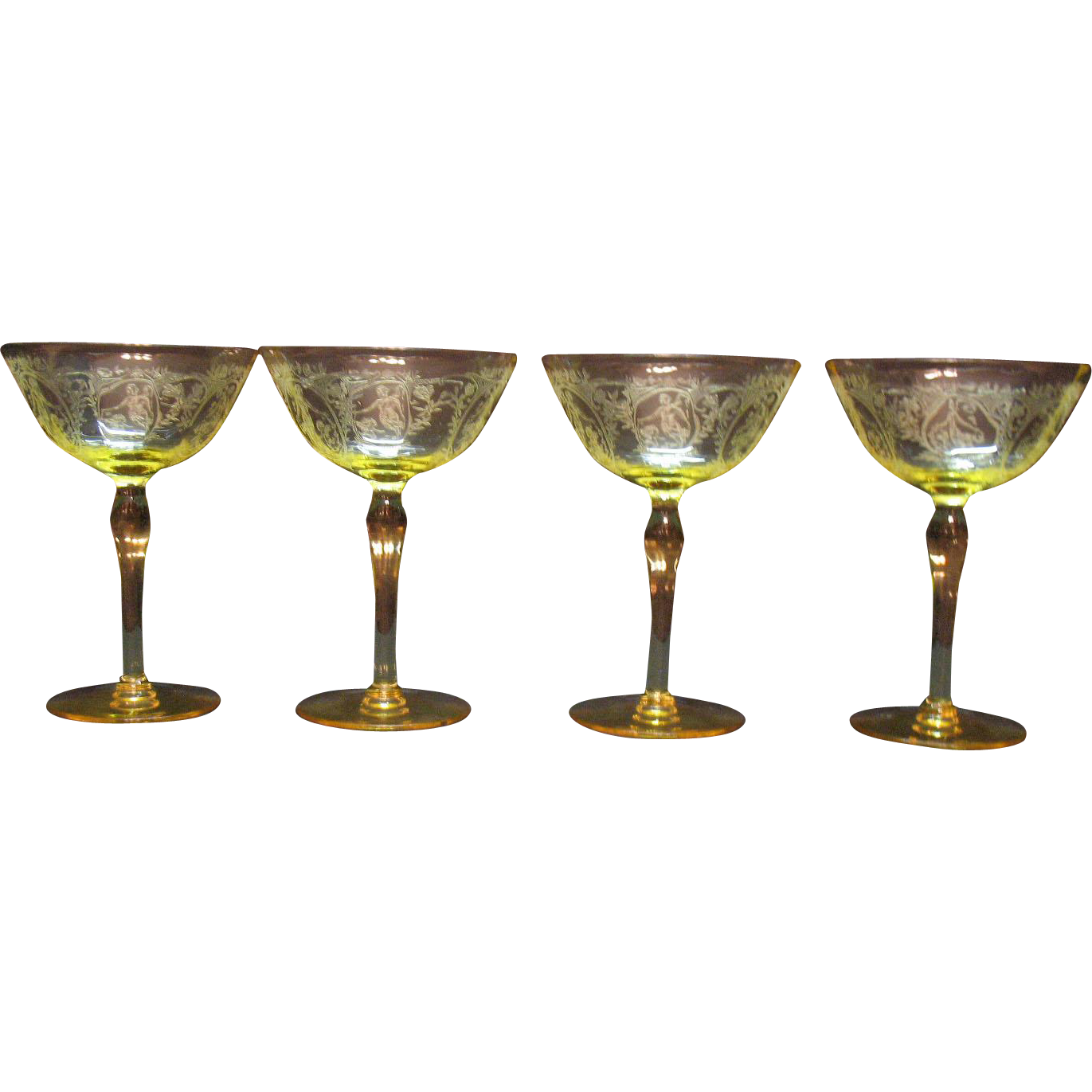 Four Vintage Paden City Yellow/Topaz Champagne Stems Spring Time Etching Optic Design 1930s Good Condition